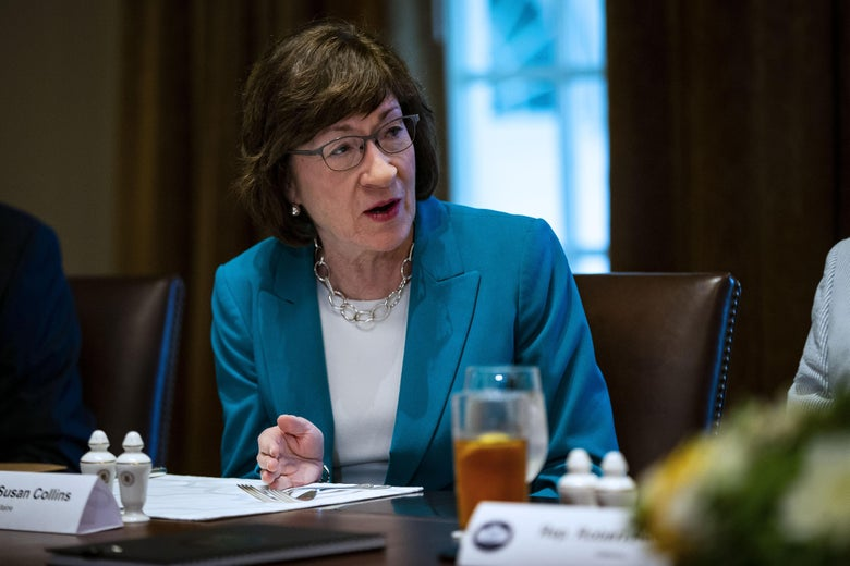 Sen. Susan Collins (R-ME) attends a lunch meeting for Republican lawmakers in the Cabinet Room at the White House June 26, 2018 in Washington, D.C.