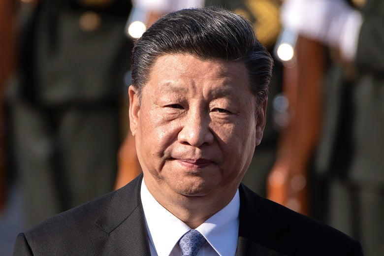Xi Jinping at a ceremony outside in Beijing.