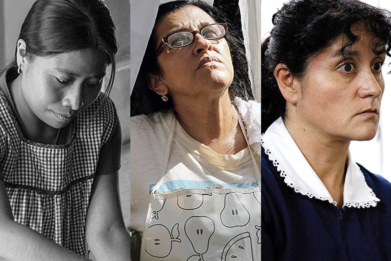 Yalitza Aparicio in Roma, Regina Casé in The Second Mother, and Catalina Saavedra in The Maid.