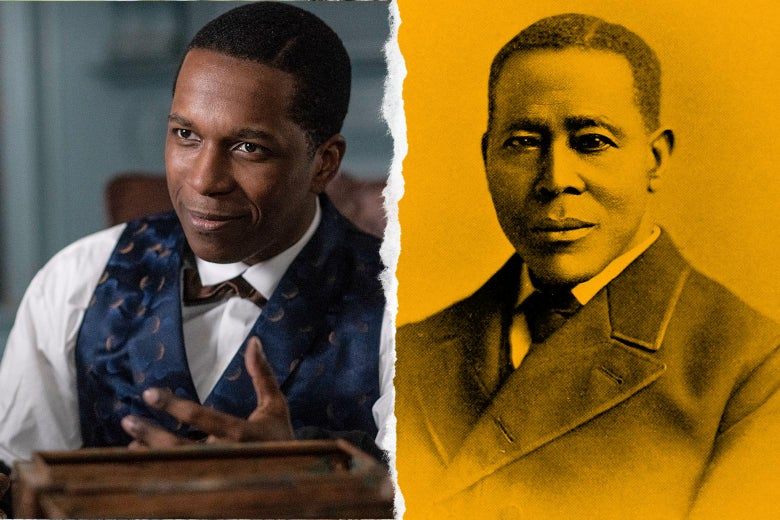 Diptych of Odom as Still in the movie Harriet next to an illustration of William Still.