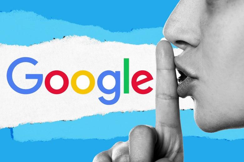 Photo illustration of a person shushing the Google logo.
