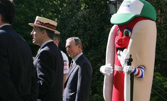 Mayor Bloomberg at the Nathan's Famous International Hot Dog Eating Contest Weigh-In