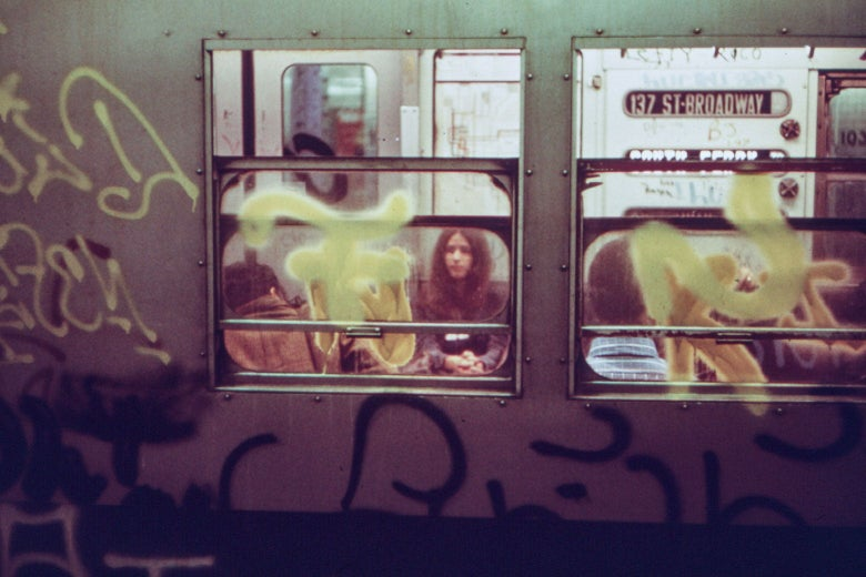 Graffiti on a New York City subway car, May 1973.
