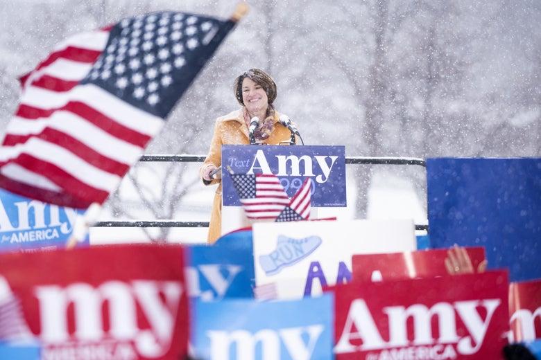 Sen. Amy Klobuchar (D-MN) announces her 2020 presidential bid on February 10, 2019 in Minneapolis, Minnesota.
