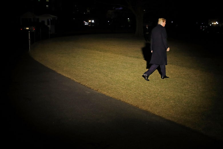 President Trump leaving the White House on January 24, 2018.