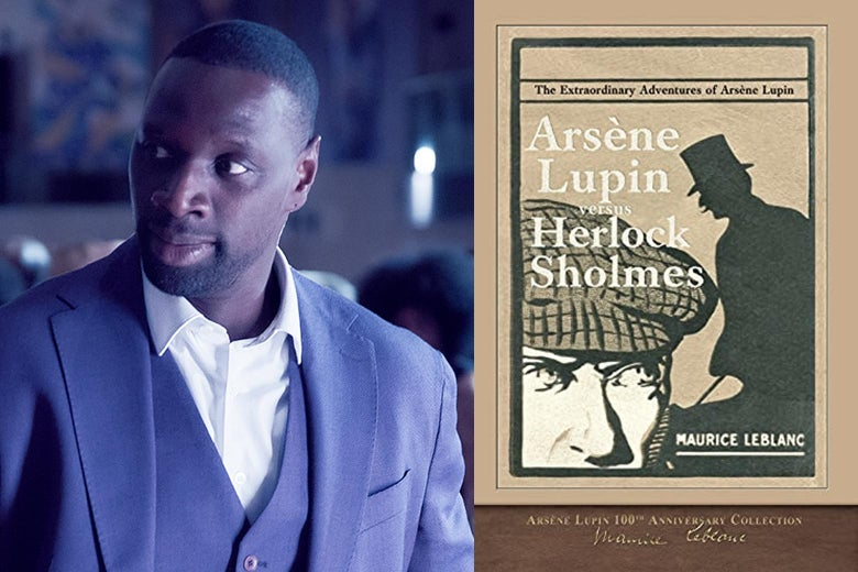 """Omar Sy looking snazzy as Lupin besides an old-timey-looking cover for a book by Maurice Leblanc whose title reads """"Arsene Lupin vs. Herlock Sholmes."""""""