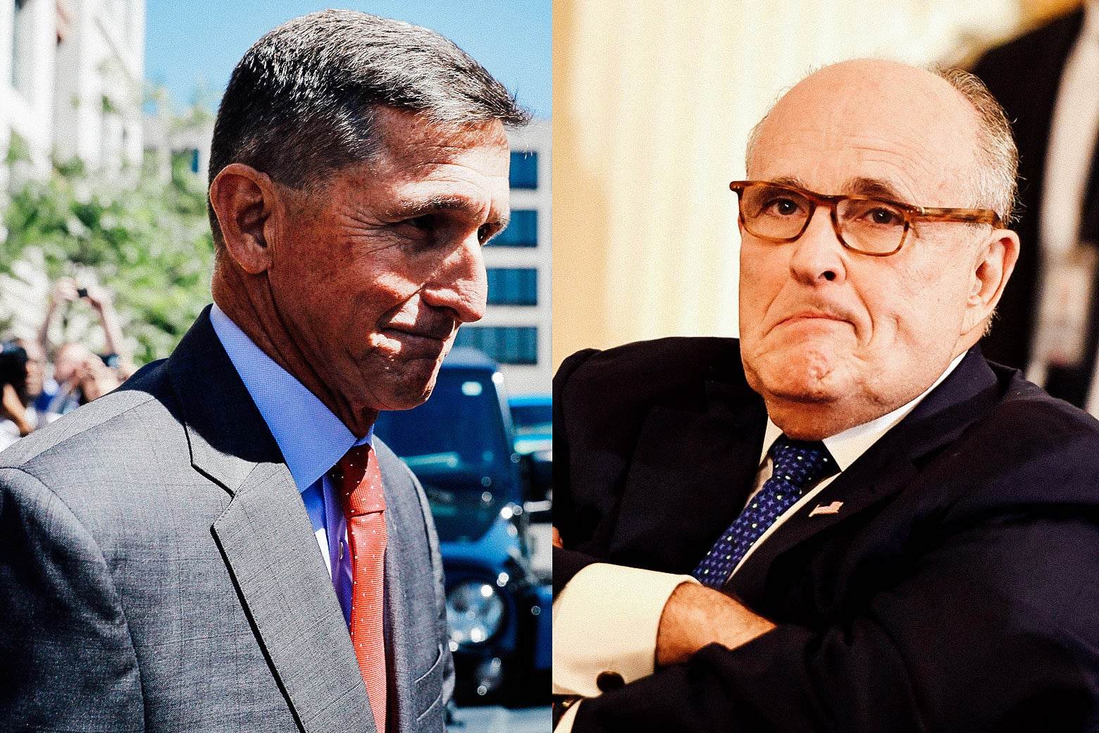 Side-by-side photo illustration of Michael Flynn and Rudy Giuliani.