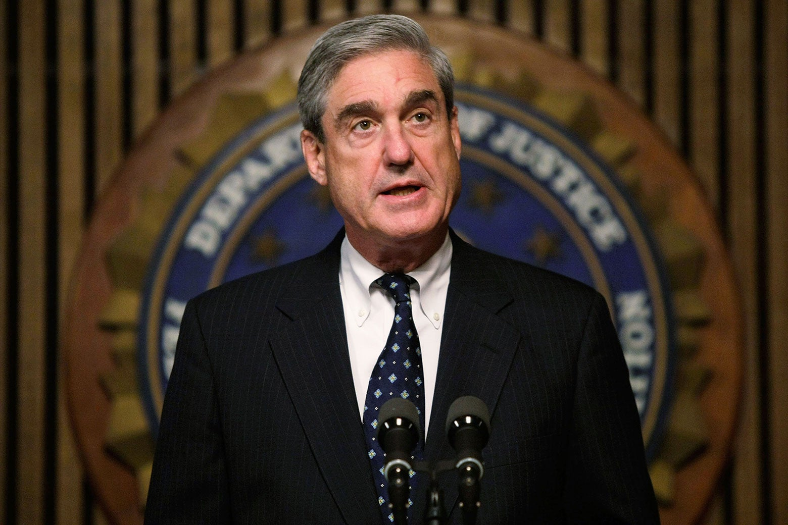 Robert Mueller, then director of the FBI, speaks during a news conference on June 25, 2008, in Washington.