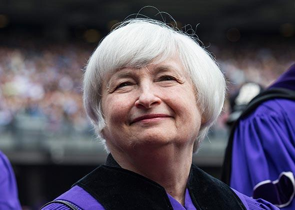 Federal Reserve Chairwoman Janet Yellen during commencement ceremonies for New York University.