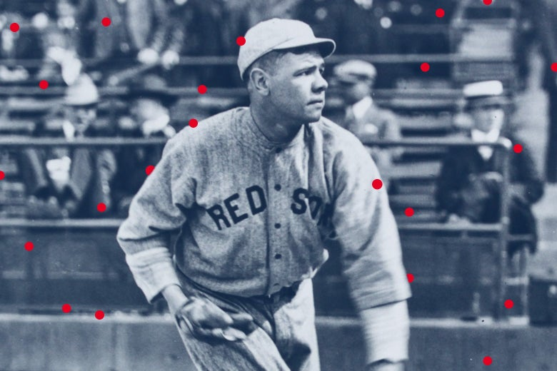 Babe Ruth in a Red Sox uniform throwing a baseball, surrounded by red dots.