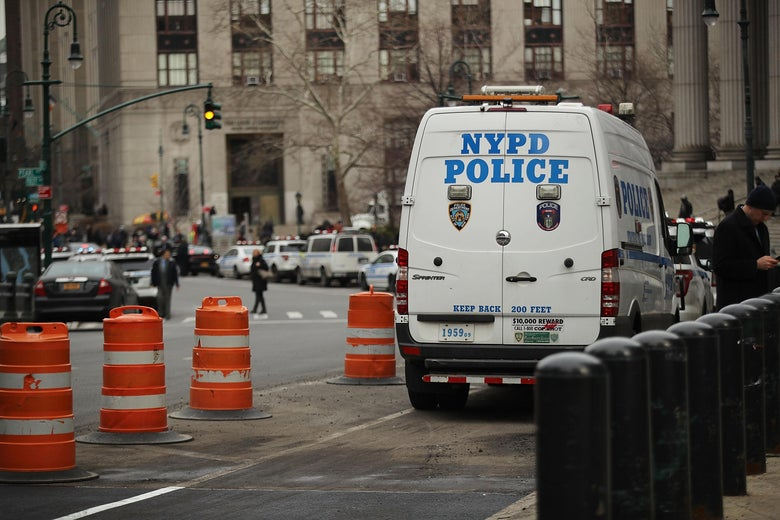 A NYPD police van in Manhattan.