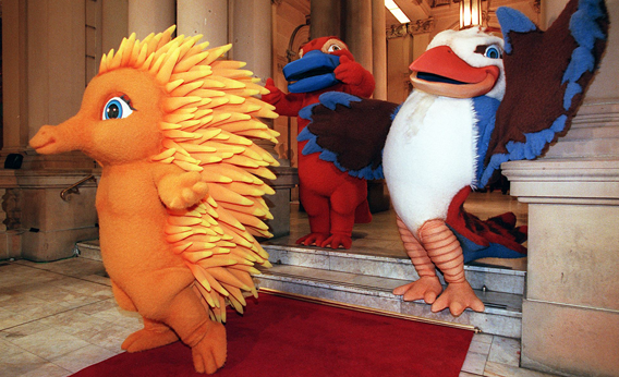 The mascots for the Sydney 2000 Olympic Games make a grand entry at their first public appearance in Sydney 28 May.