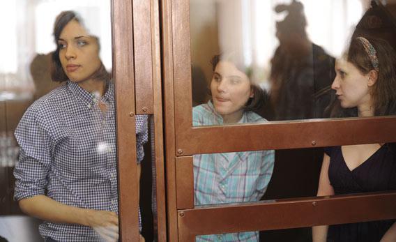 All-girl punk band 'Pussy Riot' sits behind bars.