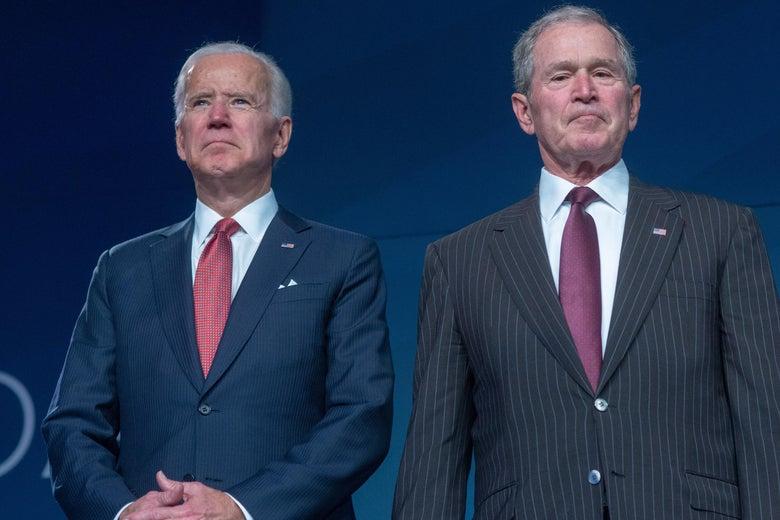 Former Vice President Joe Biden presents George W. Bush and Laura Bush the 2018 Liberty Medal at The National Constitution Center on November 11, 2018 in Philadelphia, Pennsylvania.