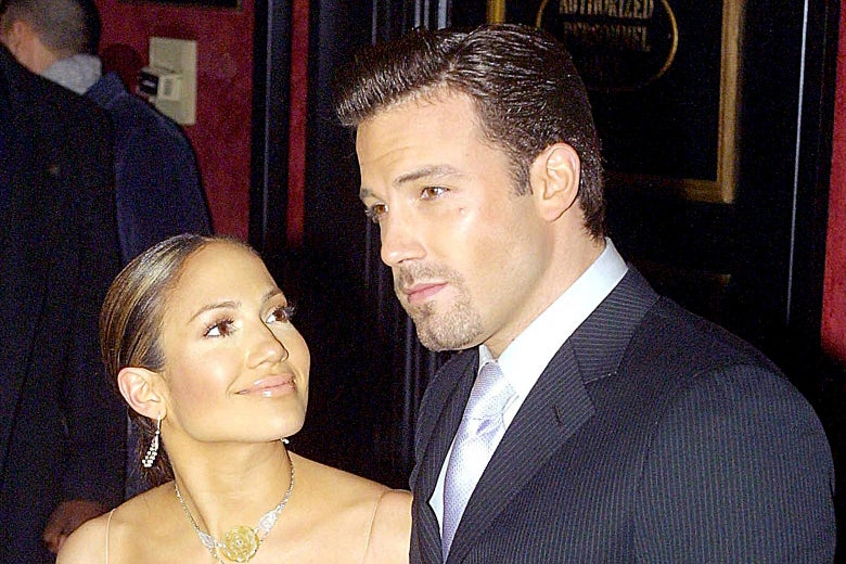 Jennifer Lopez and Ben Affleck at the Maid in Manhattan premiere in 2002.