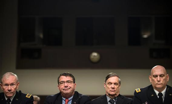 From left: Chairman of the Joint Chiefs of Staff Army Gen. Martin E. Dempsey, Deputy Secretary of Defense Ashton B. Carter, Undersecretary of Defense and Comptroller Robert F. Hale, and Chief of Staff of the Army Gen. Raymond T. Odierno at a Feb. 12 congressional hearing in Washington, D.C.