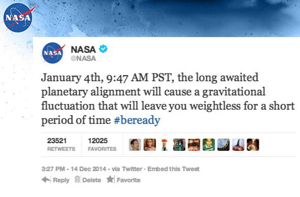 fake NASA tweet