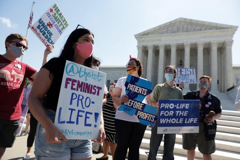 Pro-life activists participate in a demonstration in front of the U.S. Supreme Court June 29, 2020 in Washington, DC. The Supreme Court has ruled today, in a 5-4 decision, a Louisiana law that required abortion doctors need admitting privileges to nearby hospitals unconstitutional.  (Photo by Alex Wong/Getty Images)