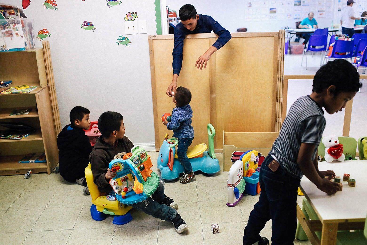 Children play.