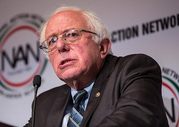 Independent Vermont Sen. Bernie Sanders speaks at the National Action Network national convention on April 8, 2015, in New York City