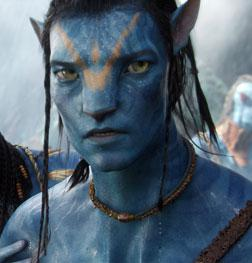 """Neytiri (Zoë Saldana) and Jake (Sam Worthington) make final preparations for an epic battle that will decide the fate of an entire world in the movie """"Avatar""""."""