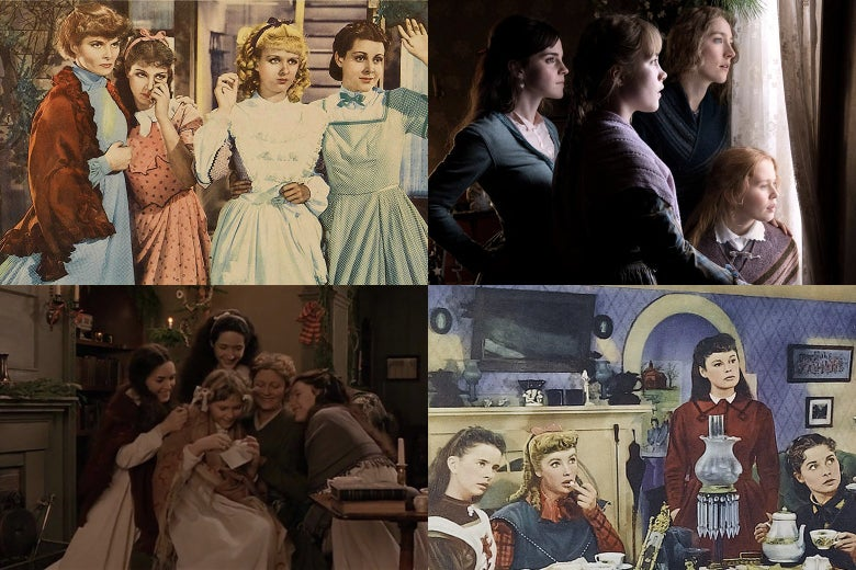 Stills from the 1933, 1949, 1994, and 2019 film versions of Little Women, showing various incarnations of the March sisters.