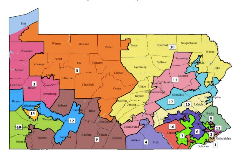 A map showing Pennsylvania's 18 districts according to 2011 legislation. The districts have wavy borders and unusual shapes.