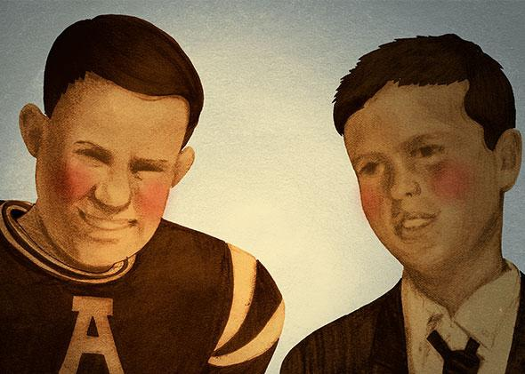 Illustration by Rob Donnelly of young Bill Belicheck (left), and Jeb Bush (right).