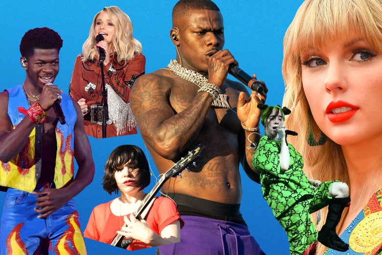 Photo collage of various entries, including Lil Nas X, Taylor Swift, and Carrie Brownstein of Sleater-Kinney.