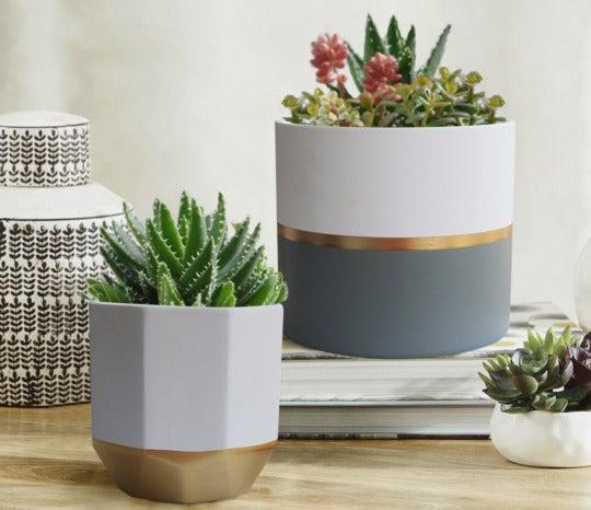 Exquis Home 6.5-inch White Ceramic Plant Containers With Gold and Grey Detailing (Set of 2).