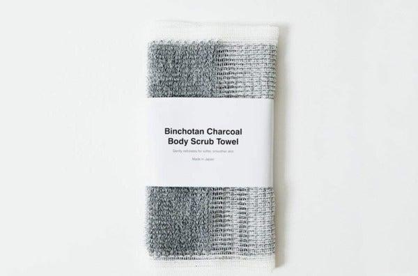 Morihata Binchotan Activated Charcoal Body Scrub Towel.
