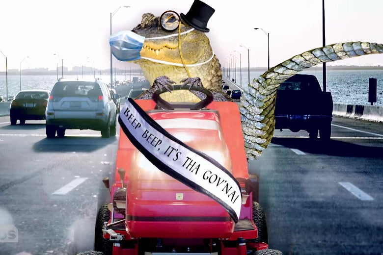 """An alligator driving a riding lawn mower down the freeway, wearing a surgical mask, a top hat, a monocle, and a sash reading """"Beep beep! It's Tha Gov'na!"""""""