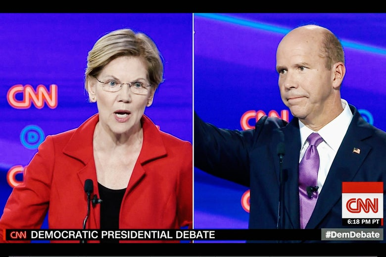 Sen. Elizabeth Warren shares one of many split-screens with former Rep. John Delaney in the July 30 Democratic presidential debate.