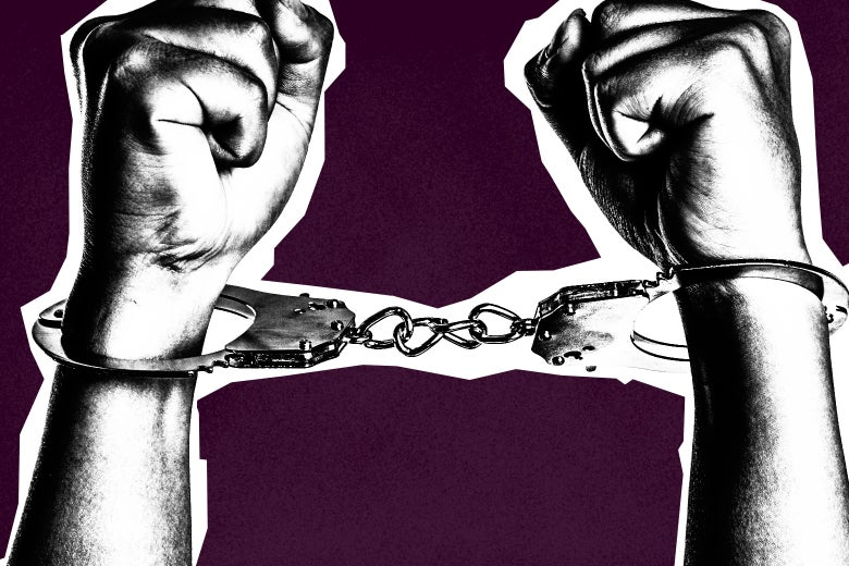 Handcuffed arms.