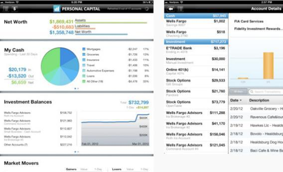 Personal Capital online investment apps.