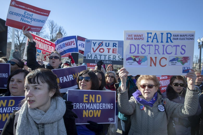 Protesters attend a rally for fair maps on March 26 in Washington.