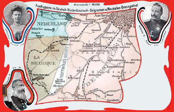 An early 20th-century postcard showing the country of Neutral Moresnet.