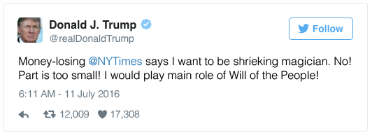 Money-losing @NYTimes says I want to be shrieking magician. No! Part is too small! I would play main role of Will of the People!