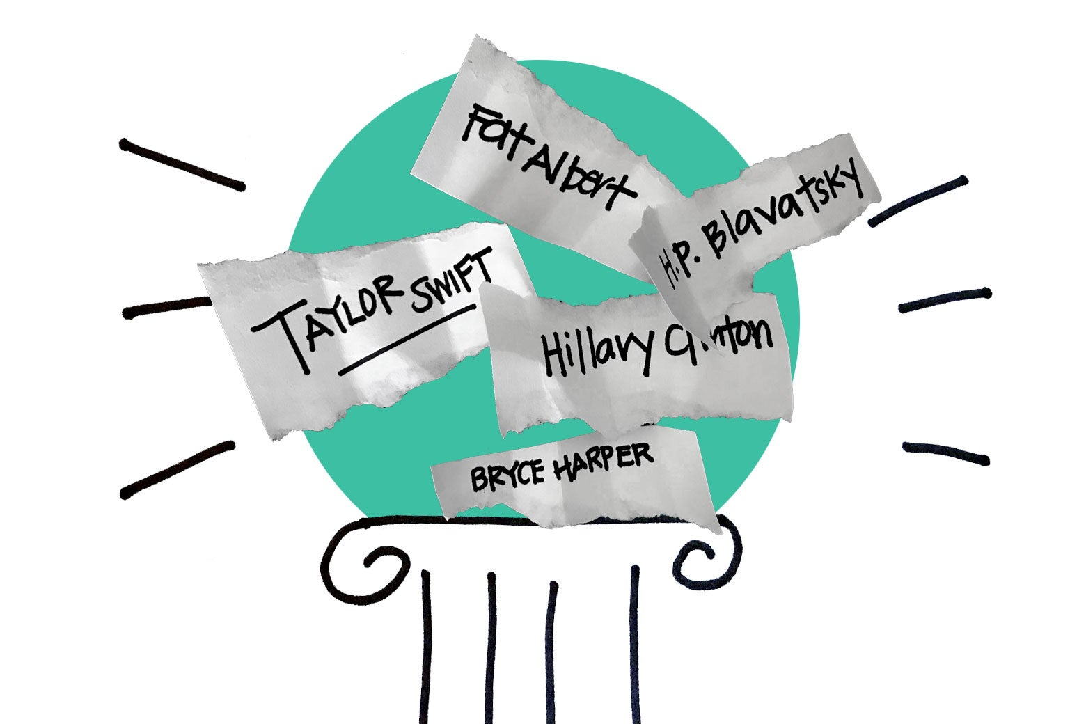 Scraps of paper with the names Taylor Swift, Hillary Clinton, Fat Albert, H.P. Blavatsky, and Bryce Harper on a pedestal.