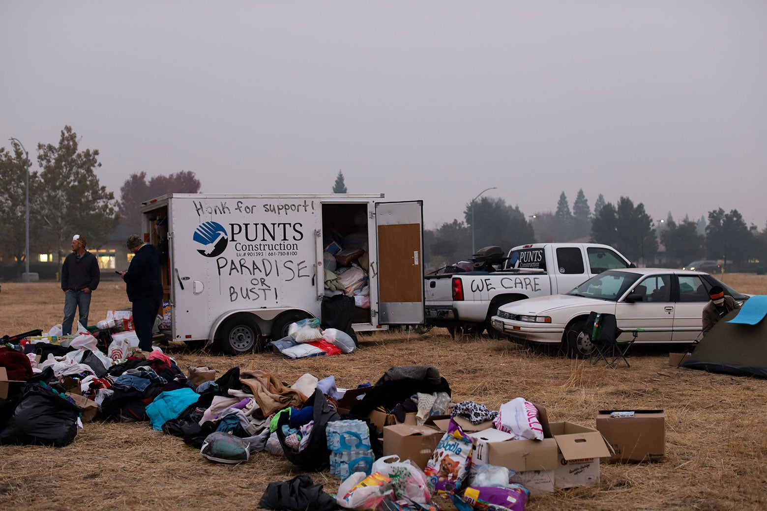 So many donations have been brought to the Walmart tent camp in Chico, California, that some go unclaimed.