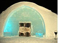 The main entrance to the Ice Hotel