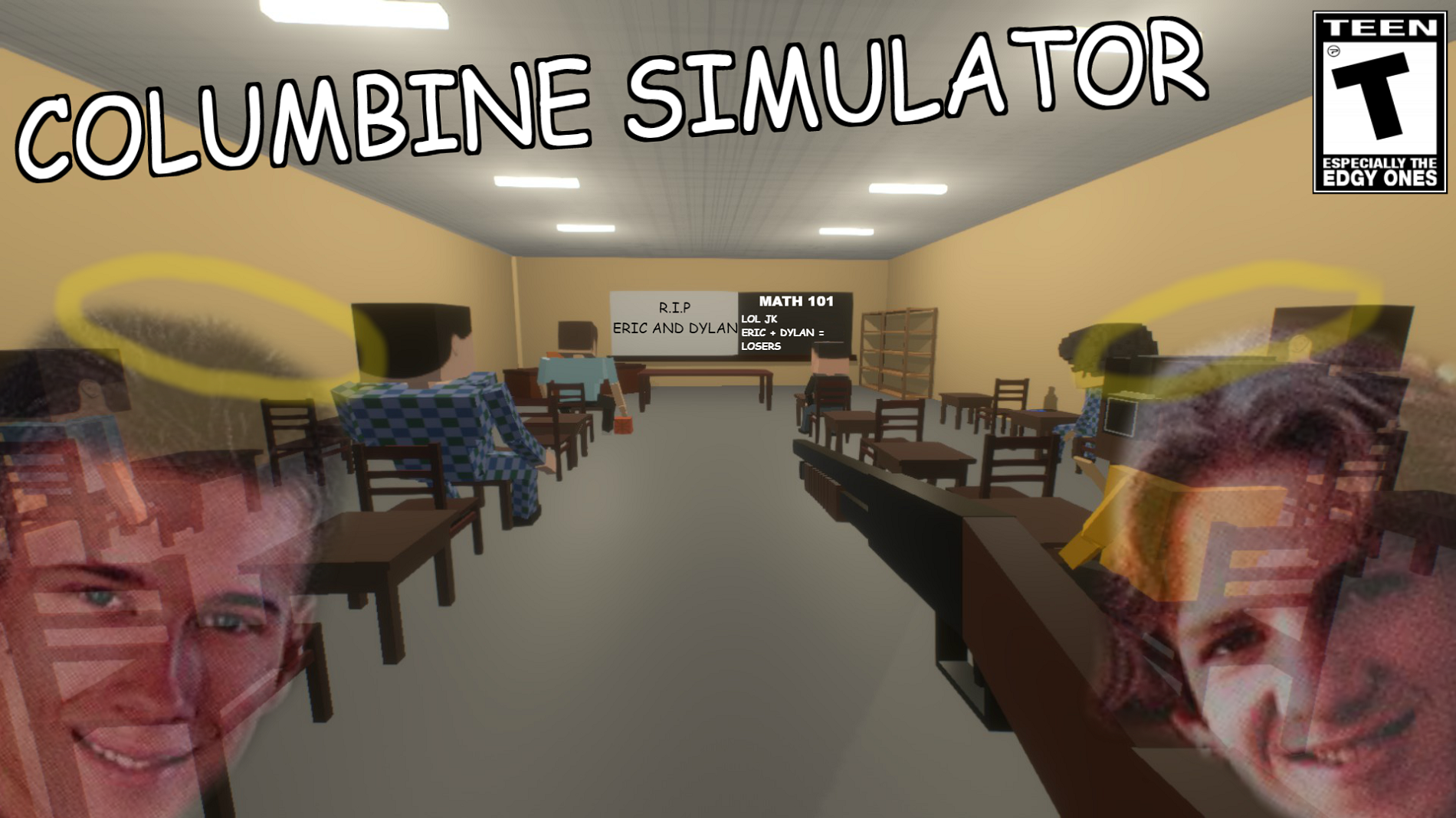 "A screenshot from the ""Columbine Simulator"" on Steam."