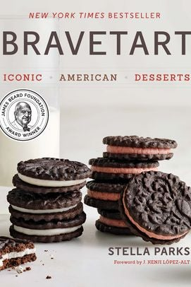 "A book cover shows stacked chocolate sandwich cookies with white and brown filling. Bravetart, Stella Parks. A round sticker reads ""James Beard Award Winner."""