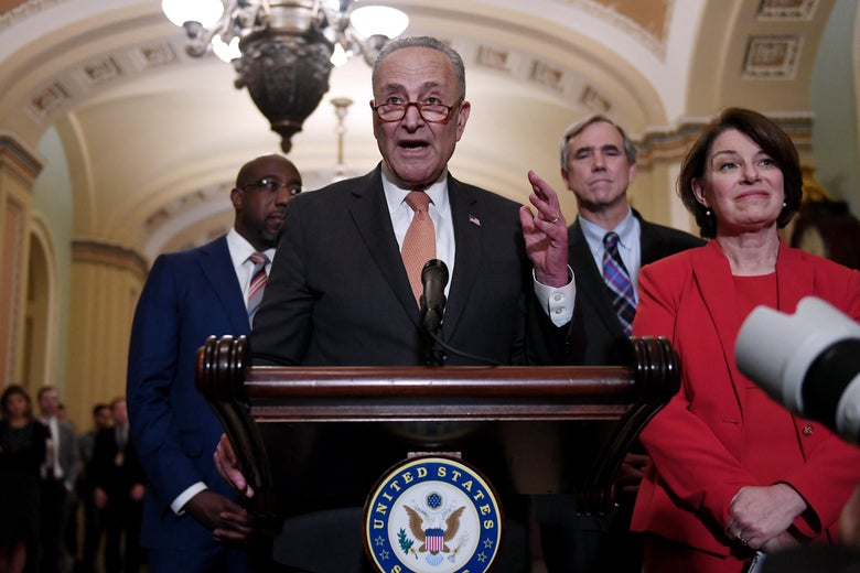 Senate Majority Leader Chuck Schumer speaks about the For the People Act at the Capitol in Washington, DC on June 22, 2021.
