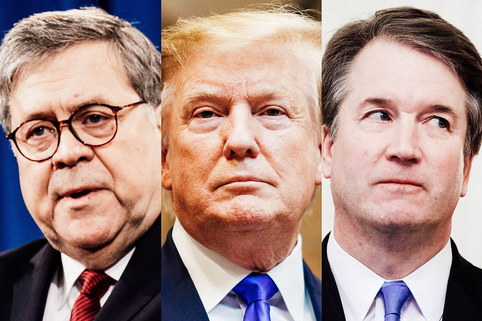 William Barr, Donald Trump, and Brett Kavanaugh.