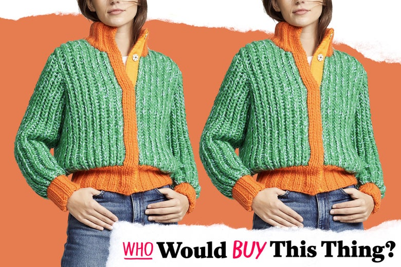 An orange and green chunky, cropped cable knit sweater.
