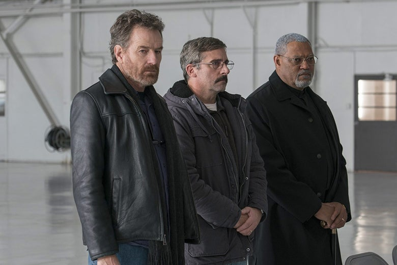 Bryan Cranston, Steve Carell, and Laurence Fishburne in Last Flag Flying.