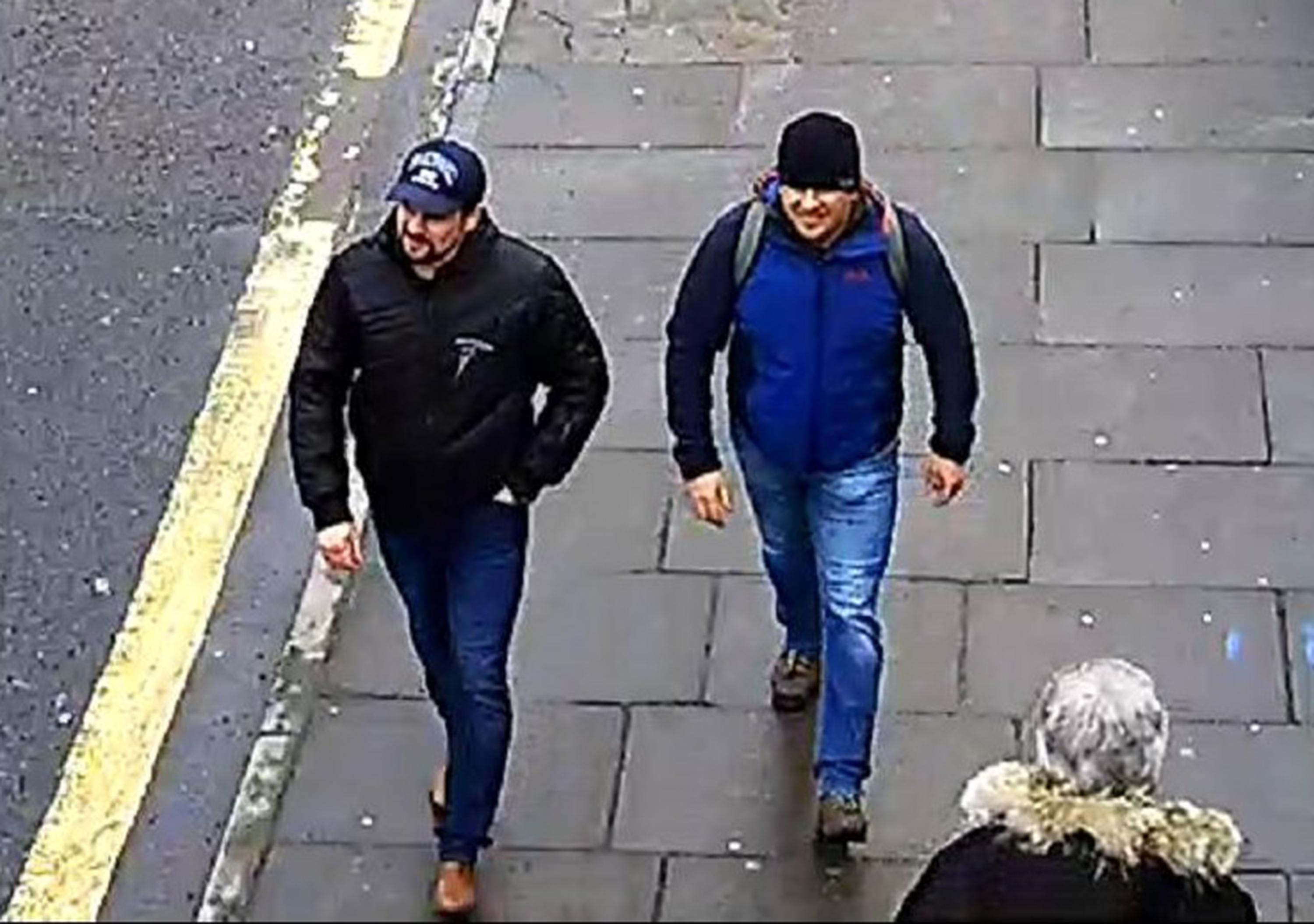 A handout photo issued by the Metropolitan Police, shows CCTV footage of poisoning suspects Alexander Petrov and Ruslan Boshirov, aka Anatoliy Chegipa, on Fisherton Road, Salisbury on 04 March 2018.