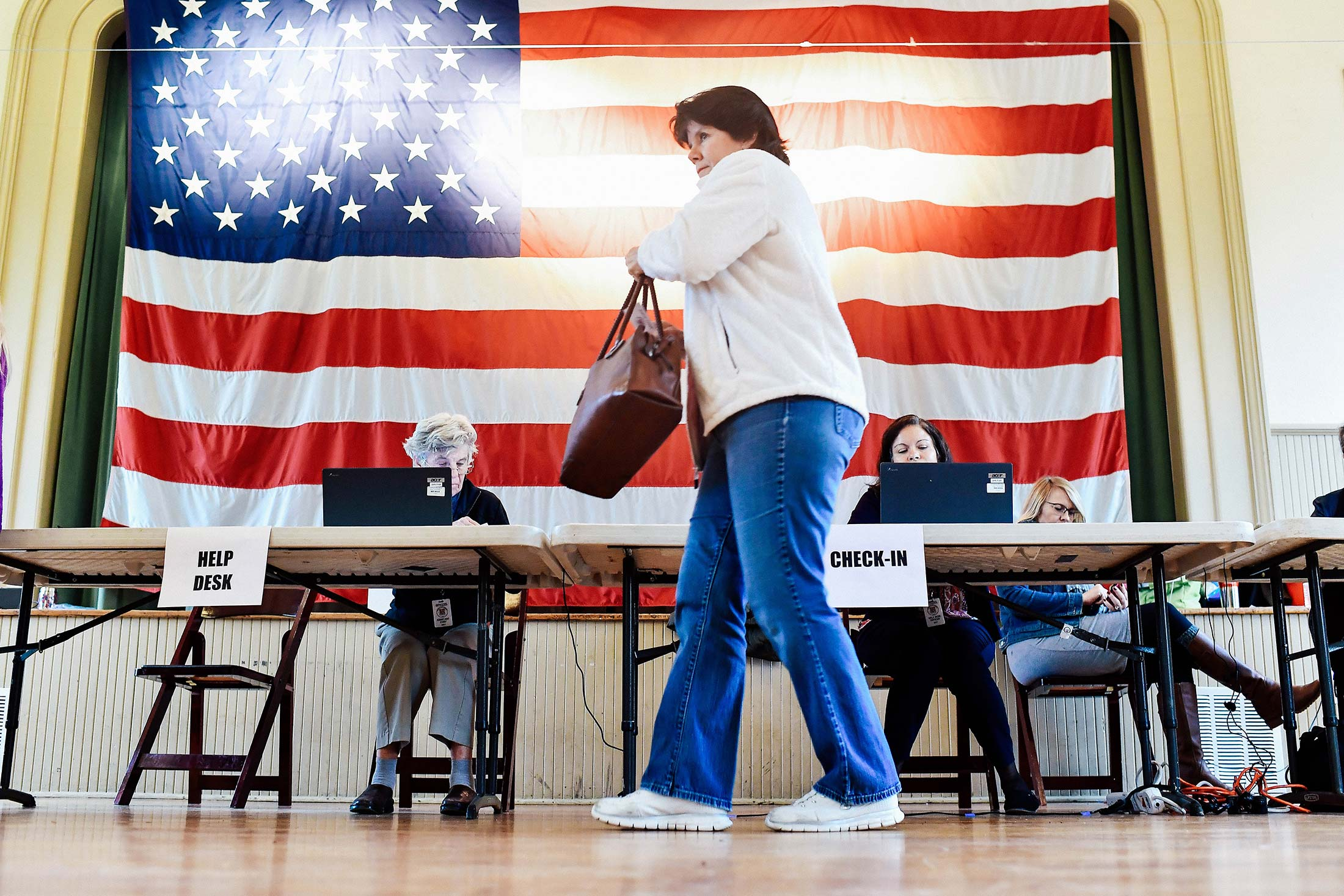 A woman at a polling place.