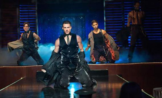 "Matt Bomer as Ken, Channing Tatum as Mike, Adam Rodriguez as Tito, and Joe Manganiello as Big Dick Richie in ""Magic Mike."""